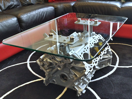 jaguar V8 coffee table 500 375 Coffee Table Made From Engine Block
